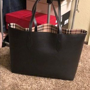 Authentic Burberry reversible black tote